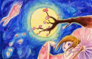 Kirschblüten im Mondschein