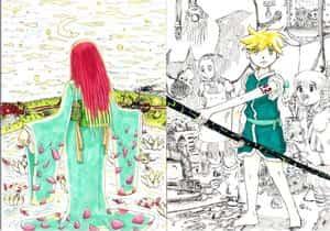 Kimono Mädchen und Len