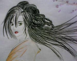 Eine shamisen Spielerin auf dem weg in eine Ochaya