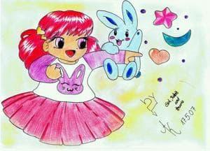 girl..rabitt..and hearts