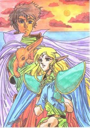 Deedo und Parn mit einem Drachen