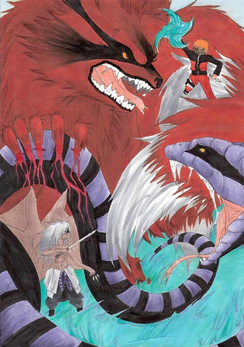 Sasuke vs Naruto & Manda vs Kyuubi (Copic Colo)