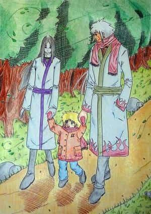 Orochimaru, klein Yondaime und Jiraiya